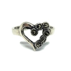 Sterling Silver Marcasite Heart Toe Pinky Ring